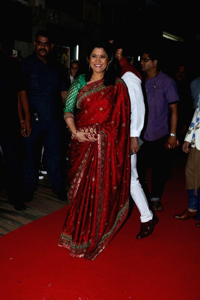 "Actress Renuka Sahane with her husband Ashutosh Rana during a special event organised to celebrate 25 years of the film ""Hum Aapke Hain Koun"", in Mumbai on Aug 9, 2019. - Renuka Sahane"