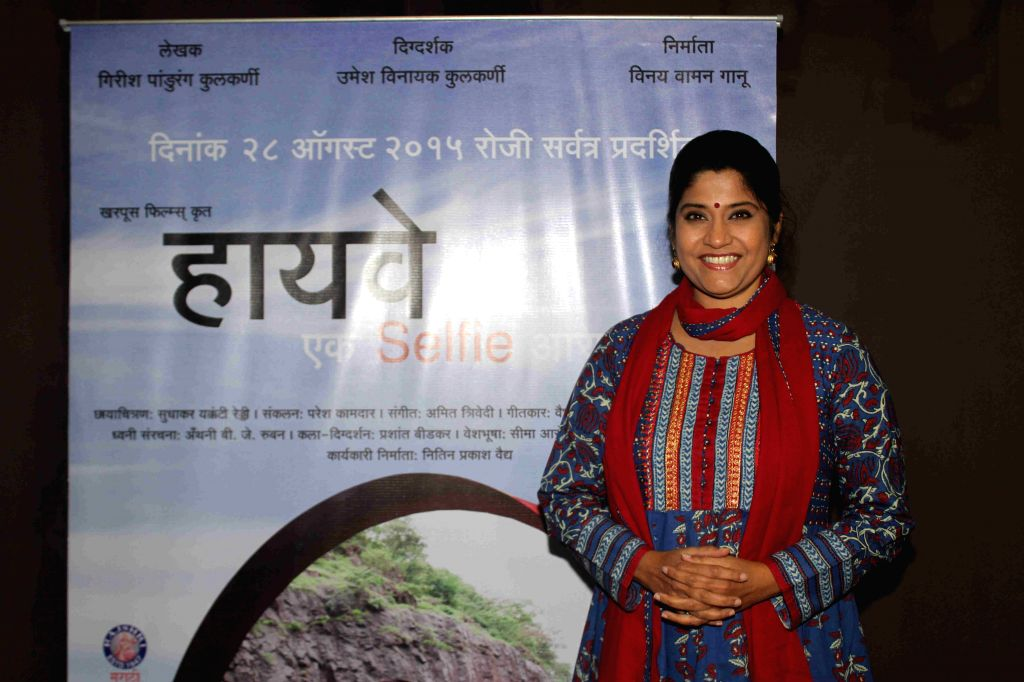 Actress Renuka Shahane during the media interaction of Marathi film Highway, in Mumbai, on August 6, 2015. - Renuka Shahane