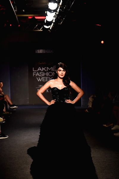 Actress Rhea Chakraborty at the Lakme Fashion Week Winter/Festive 2019 in Mumbai on Aug 24, 2019. - Rhea Chakraborty