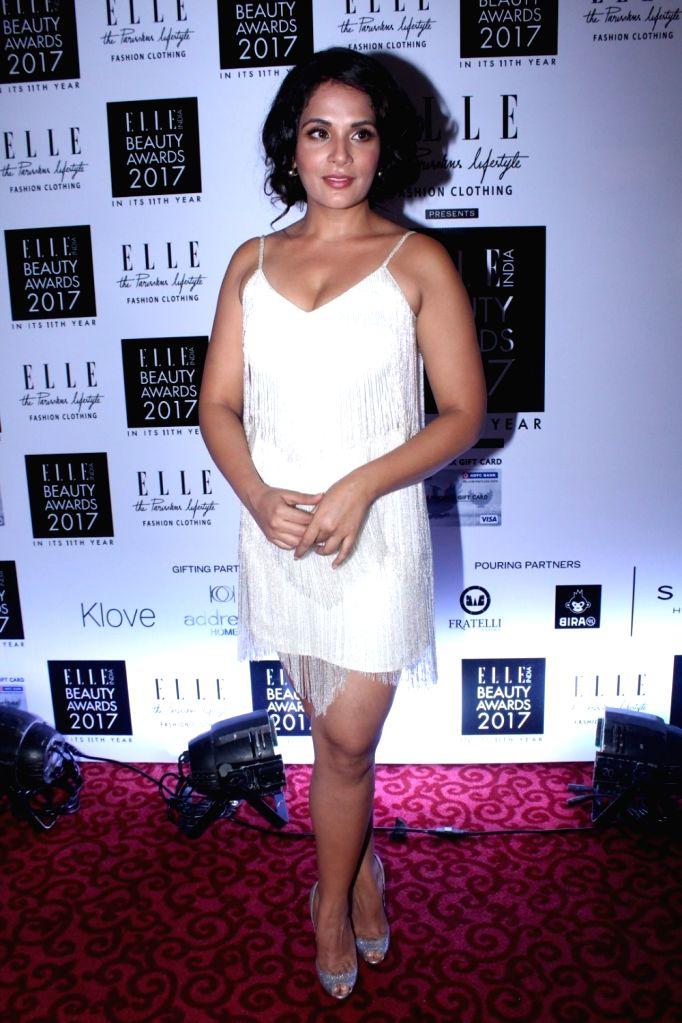 "Actress Richa Chadda during the ""Elle India Beauty Awards 2017"" in Mumbai on Oct 4, 2017. - Richa Chadda"