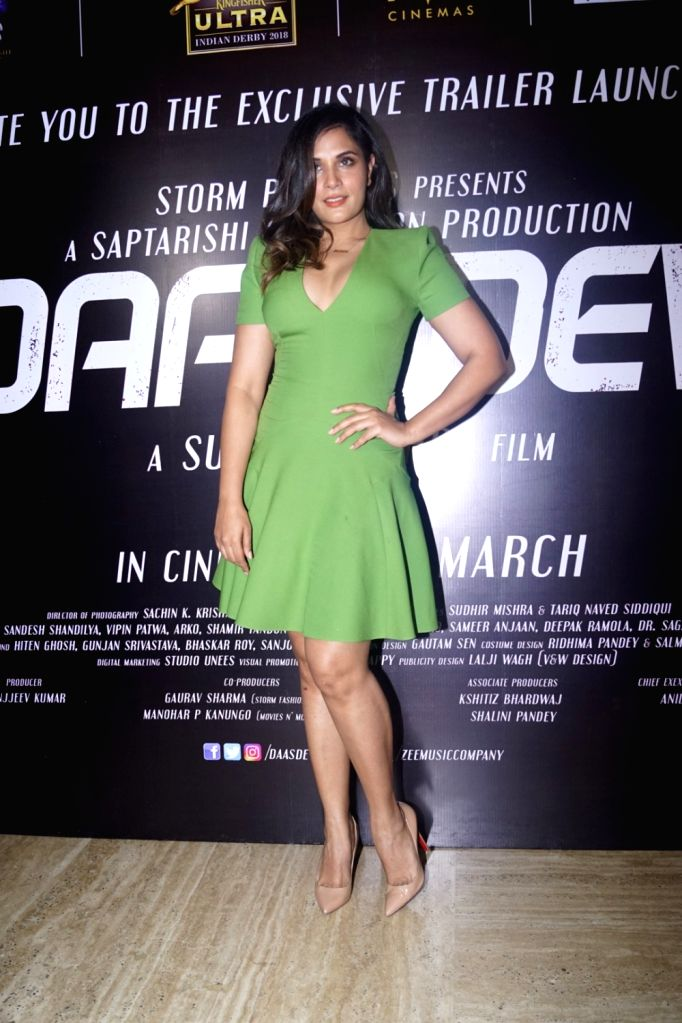 Actress Richa Chadha during the trailer launch of her upcoming film 'Daas Dev' in Mumbai on Feb 14, 2018. - Richa Chadha and Daas Dev