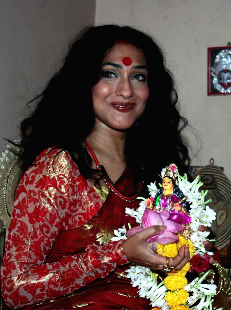 Actress Rituparna Sengupta during Lakshmi Puja at her home in Kolkata, on Oct 26, 2015.