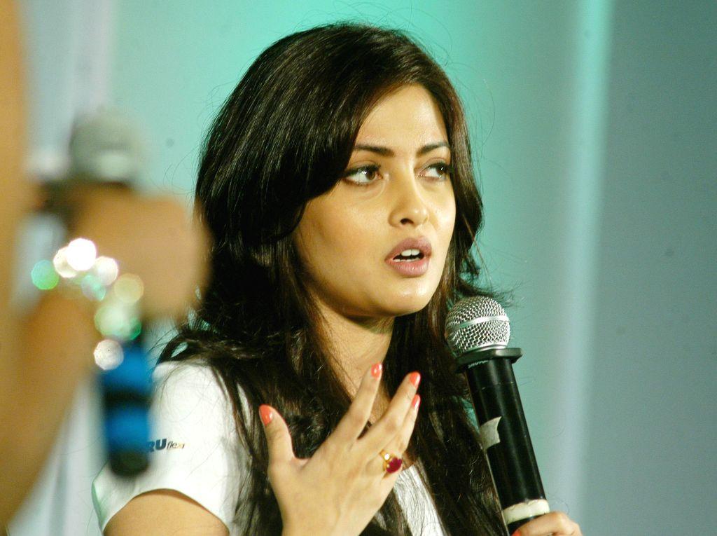 Actress Riya Sen at the launch of a radio cab service in Kolkata on Sept 10, 2014.
