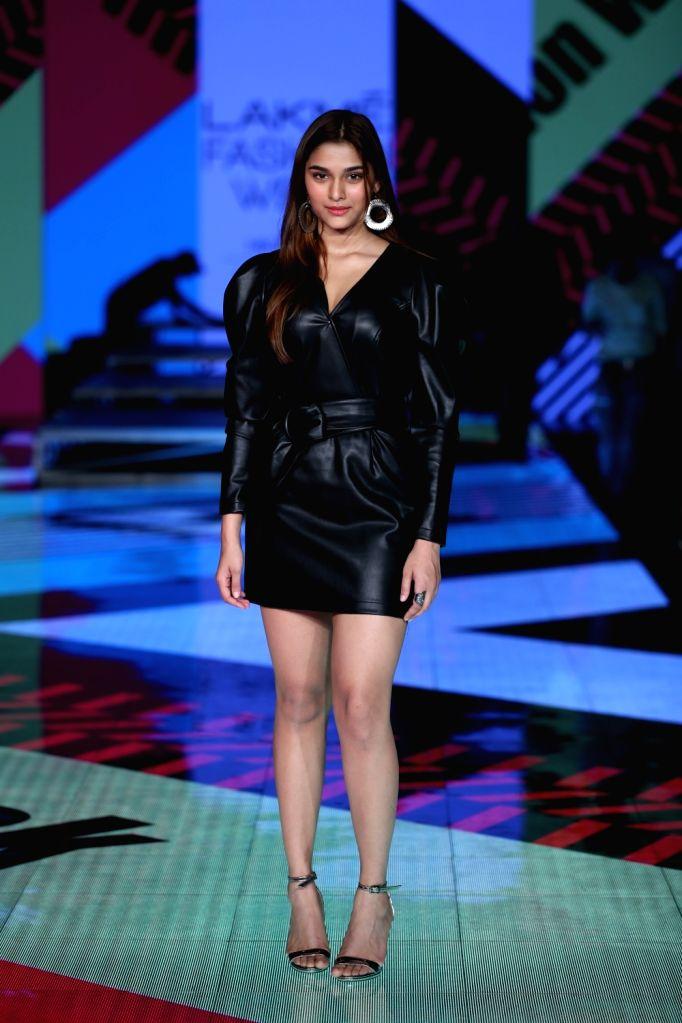 Actress Sai Manjrekar walks the ramp on Day 2 of the Lakme Fashion Week Summer/Resort 2020, in Mumbai on Feb 12, 2020. - Sai Manjrekar