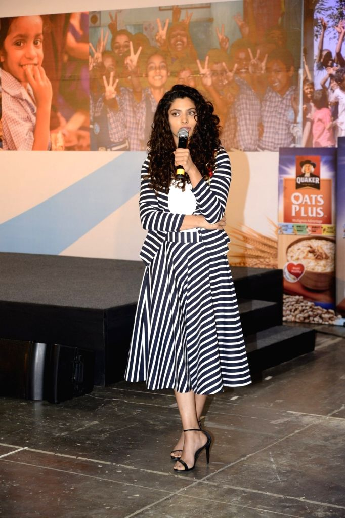Actress Saiyami Kher during the launch of 'Quaker Feed a Child' on the occasion of World Food Day in Mumbai. - Saiyami Kher