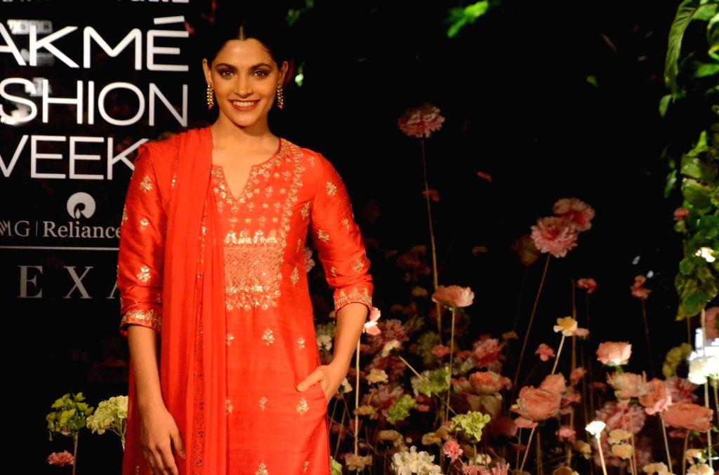 Actress Saiyami Kher showcases fashion designer Anita Dogre's creation on Day 2 of the Lakme Fashion Week (LFW) Summer/Resort 2019 in Mumbai, on Jan 31, 2019. - Saiyami Kher