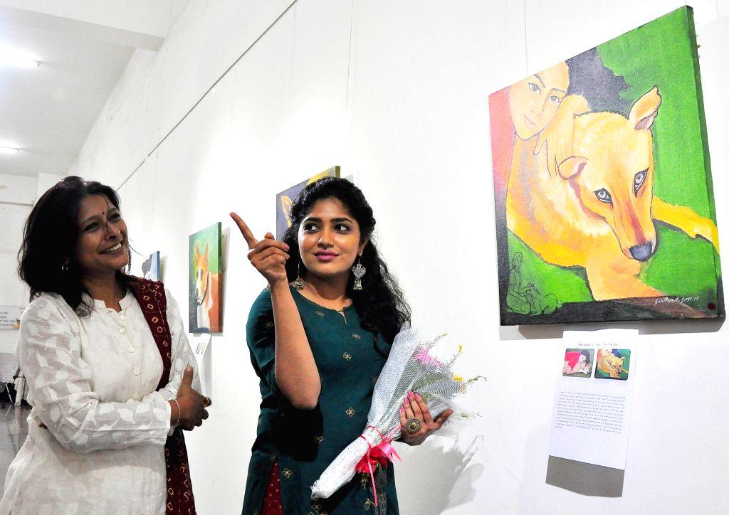 Actress Samyukta Hornad at EmPassion - an unique painting exhibition at metro Rangoli Art Center, in Bengaluru on Aug 31, 2018. - Samyukta Hornad