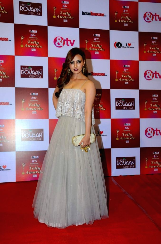 Actress Sana Khan during the 14th Indian Telly Awards in Mumbai, on Nov 28, 2015. - Sana Khan
