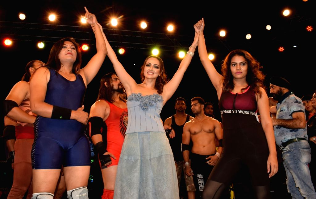 """Actress Sana Khan during the launch of """"The Unique War"""" - a wrestling series in New Delhi on Aug 18, 2017. - Sana Khan"""