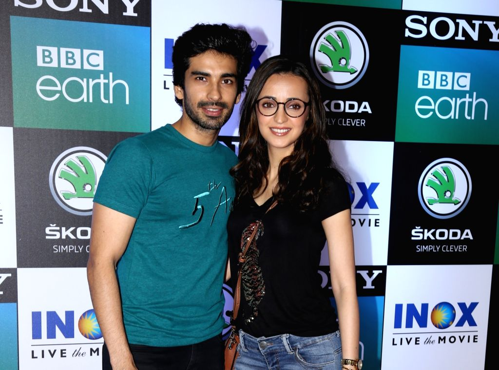 "Actress Sanaya Irani and her husband-actor Mohit Sehgal at the screening of Sony BBC Earth's upcoming mega-series ""Dynasties"", in Mumbai, on June 12, 2019. - Sanaya Irani"