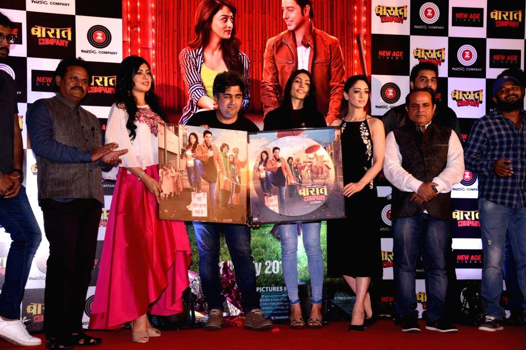 "Actress Sandeepa Dhar ,Anurita Jha and Director Syed Ahmed Afzal during the promotion of the film ""Baaraat Company"" in Mumbai on July 5, 2017. - Sandeepa Dhar"