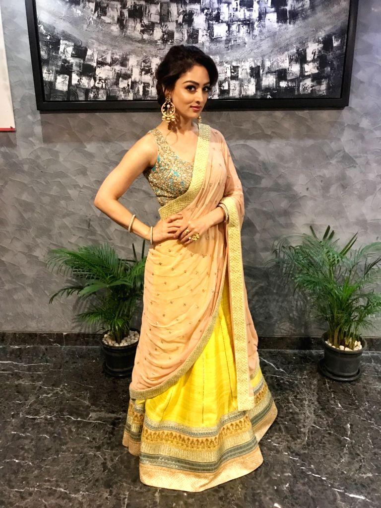 Actress Sandeepa Dhar at a 'Dahi Handi' event during Janmashtami celebrations, in Maharashtra's Pune on Sept 3, 2018. - Sandeepa Dhar