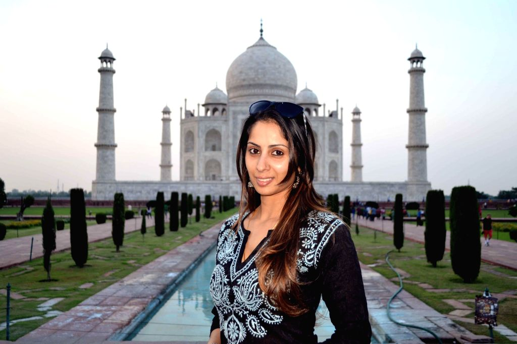 Actress Sangita Ghosh at the Taj Mahal in Agra, on Sept 16, 2014. (Photo: Pawan Sharma/IANS) - Sangita Ghosh and Pawan Sharma