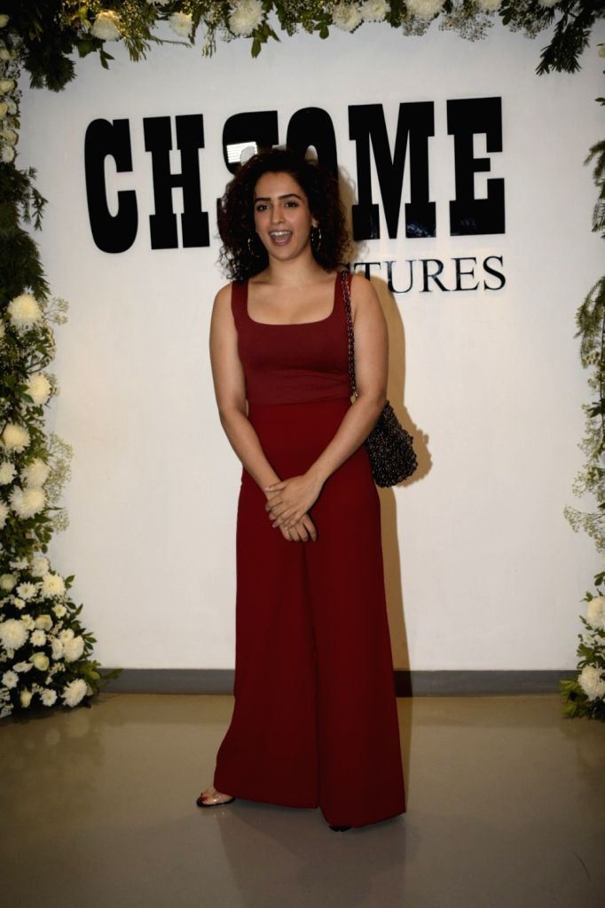 "Actress Sanya Malhotra at Chrome Picture's15th anniversary and ""Badhaai Ho"" success party in Mumbai on Jan. 19, 2019. - Sanya Malhotra"