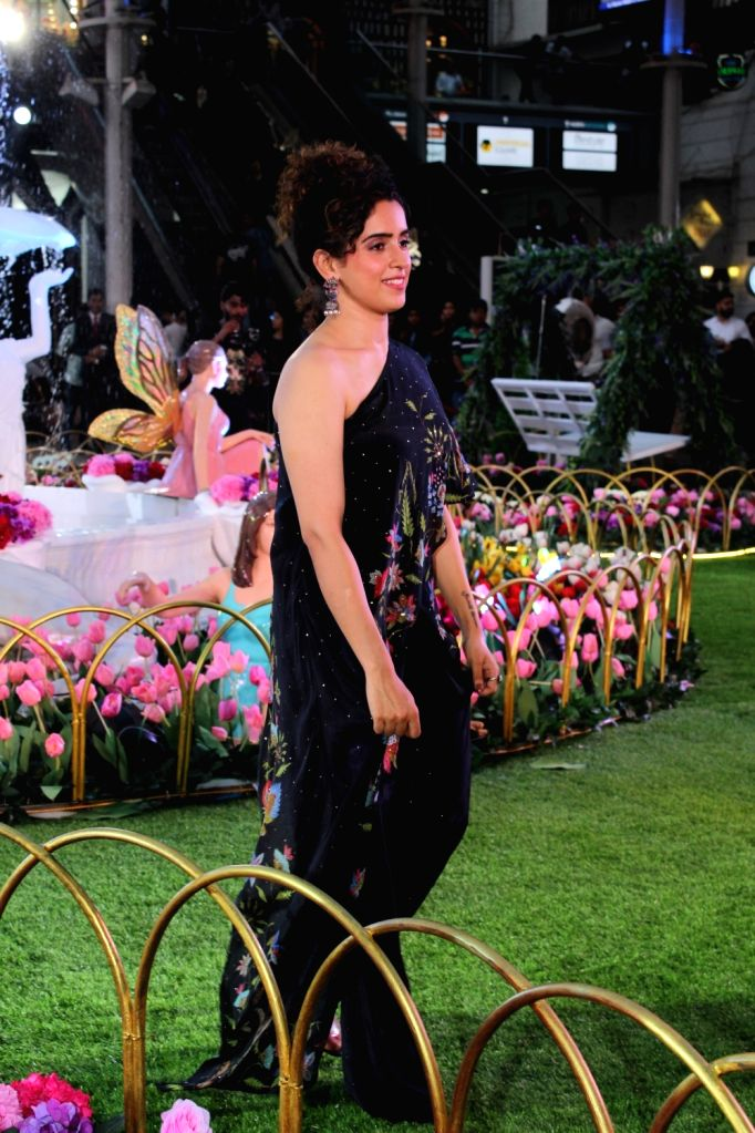 Actress Sanya Malhotra during a programme organsied to unveil the Spring Summer collection of Ritu Kumar, Satya Paul, Forever New and CoverStory in Mumbai on April 26, 2019. - Sanya Malhotra and Ritu Kumar