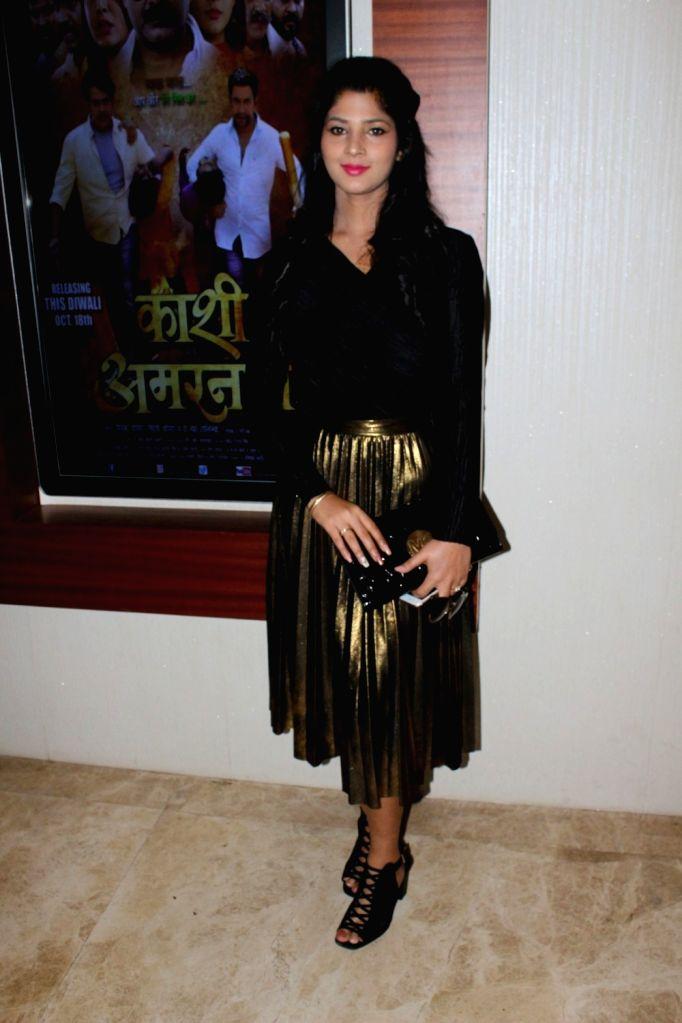 """Actress Sapna Gil during the trailer launch of film """"Kaashi Amarnat"""" in Mumbai on Sept 16, 2017. - Sapna Gil"""