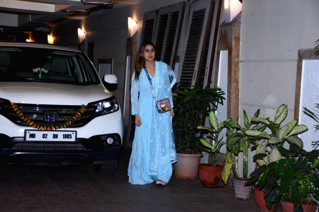 Actress Sara Ali Khan at actor Saif Ali Khan's residence for Diwali celebration in Mumbai on Oct 26, 2019. - Sara Ali Khan and Saif Ali Khan