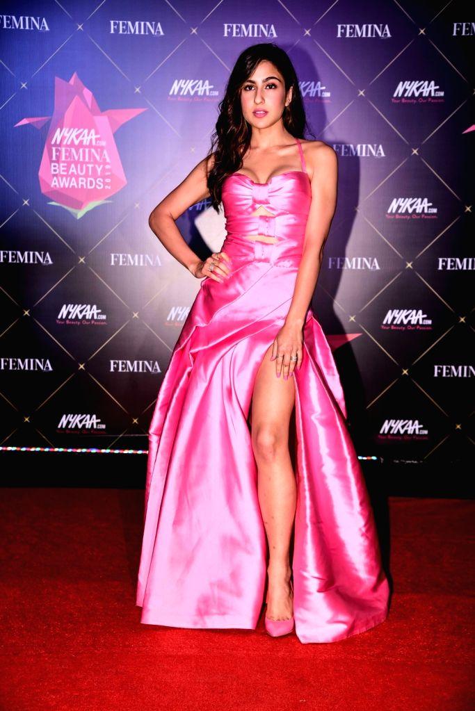 Actress Sara Ali Khan at Nykaa Femina Beauty Awards 2019, in Mumbai, on Feb 20, 2019. - Sara Ali Khan