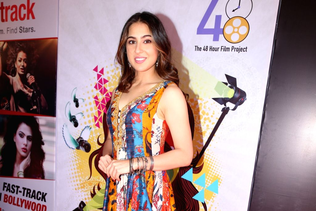 Actress Sara Ali Khan at the inauguration of ActFest, which is organised by Cine and TV Artistes' Association (Cintaa) and 48 Hour Film Project, in Mumbai on Feb 15, 2019. - Sara Ali Khan
