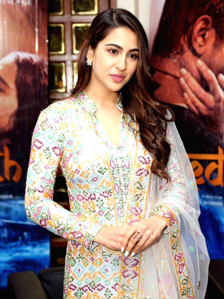 "Actress Sara Ali Khan during the promotion of their upcoming film ""Kedarnath"" in New Delhi on Dec 6, 2018. - Sara Ali Khan"