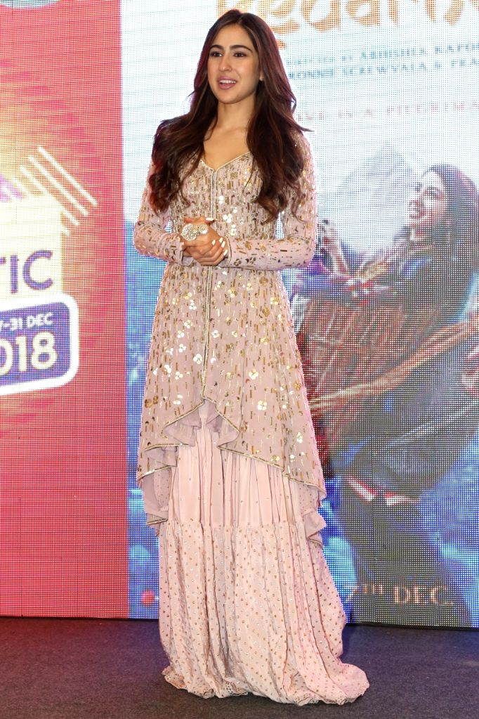 "Actress Sara Ali Khan during the promotion of their upcoming film ""Kedarnath"", at DLF Mall of India in Noida on Dec 6, 2018. - Sara Ali Khan"