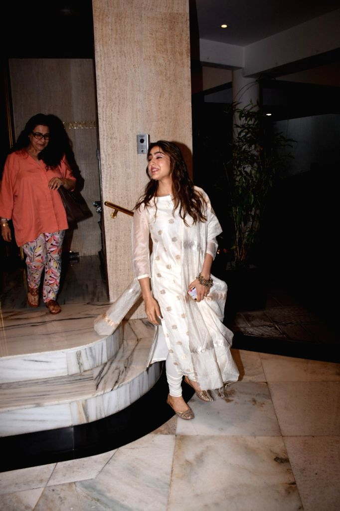 Actress Sara Ali Khan seen at fashion designer Manish Malhotra's residence in Bandra, Mumbai on July 27, 2019. - Sara Ali Khan and Manish Malhotra