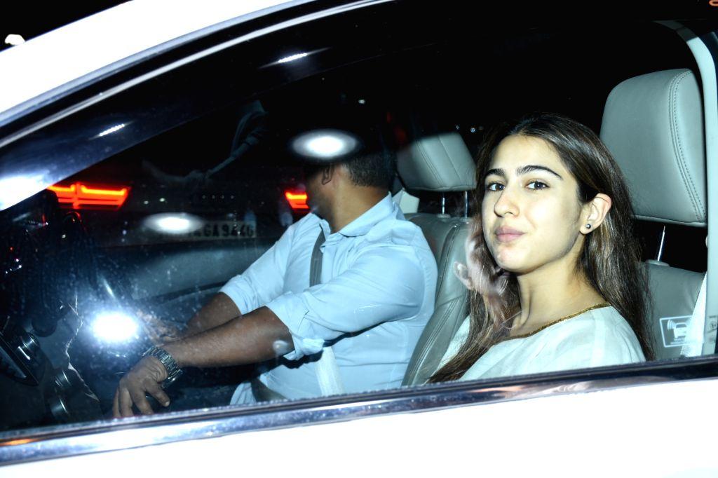Actress Sara Ali Khan seen at the office of Maddock Films in Mumbai on Jan 24, 2020. - Sara Ali Khan