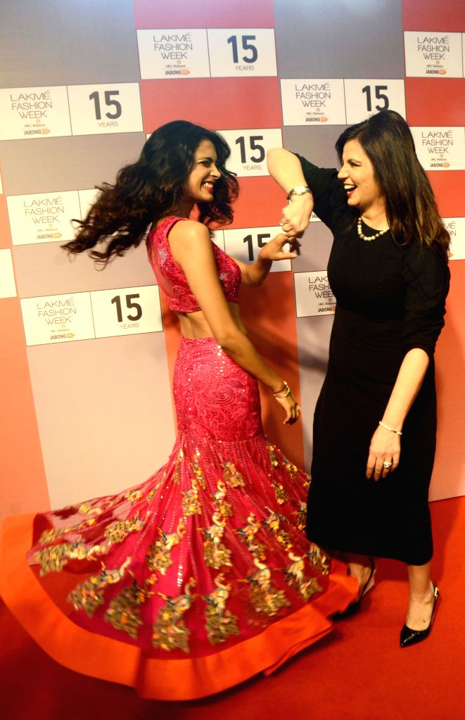 Actress Sarah-Jane Dias during a press conference regarding 15 years of Lakme Fashion Week, in Mumbai on Aug 3, 2015. - Sarah-Jane Dias