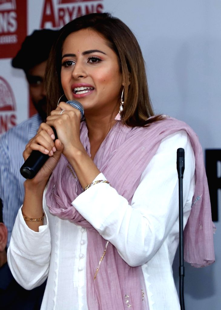 "Actress Sargun Mehta addresses during the promotions of her upcoming film ""Surkhi Bindi"" in Amritsar, on Aug 28, 2019. - Sargun Mehta"