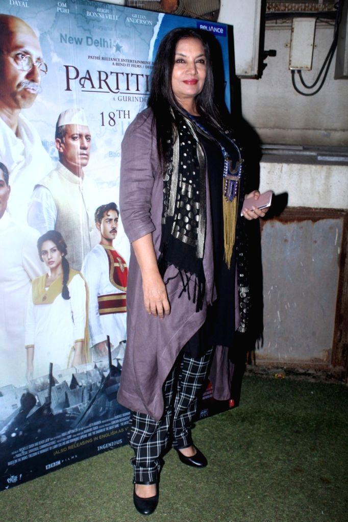 "Actress Shabana Azmi during the special screening of film ""Partition: 1947"" in Mumbai on Aug 17, 2017. - Shabana Azmi"