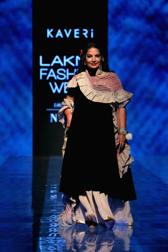 Actress Shabana Azmi walks the ramp for fashion designer Kaveri on Day 5 of the Lakme Fashion Week Winter/Festive 2019 in Mumbai on Aug 25, 2019. - Shabana Azmi