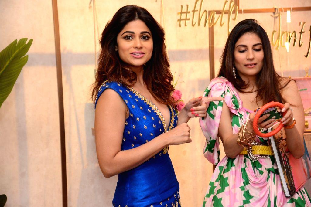 Actress Shamita Shetty and fashion designer Shubhika Sharma Davda at a fashion studio in Mumbai, on March 4, 2019. - Shamita Shetty and Shubhika Sharma Davda