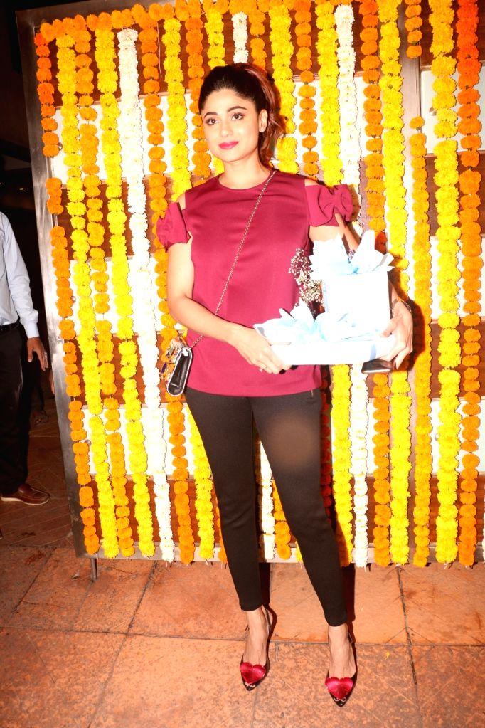 Actress Shamita Shetty arrives at the naming ceremony of producer Ekta Kapoor's son in Mumbai on Feb 11, 2019. - Shamita Shetty and Ekta Kapoor