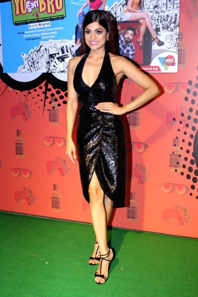 "Actress Shamita Shetty during the special screening of  web-series ""Yo Ke Hua Bro"" in Mumbai on Aug 16, 2017. - Shamita Shetty"