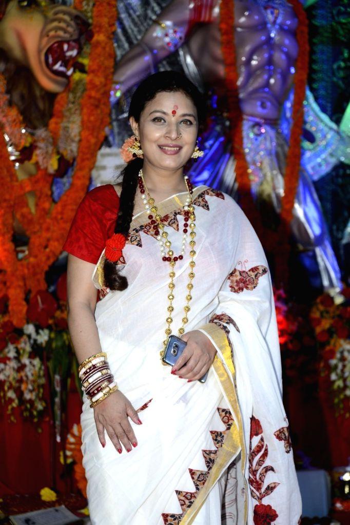 Actress Sharbani Mukherjee during North Bombay Durga Puja celebrations in Mumbai on Oct. 8, 2016. - Sharbani Mukherjee