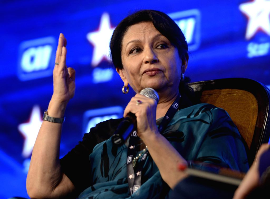 Actress Sharmila Tagore during the 4th Edition of CII Big Picture Summit 2015, in New Delhi on Oct 20, 2015. - Sharmila Tagore