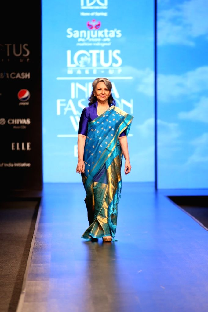 Actress Sharmila Tagore walks the ramp showcasing fashion designer Sanjukta Dutta's creation on the second day of Lotus Make-up India Fashion Week, in New Delhi on Oct 10, 2019. - Sharmila Tagore
