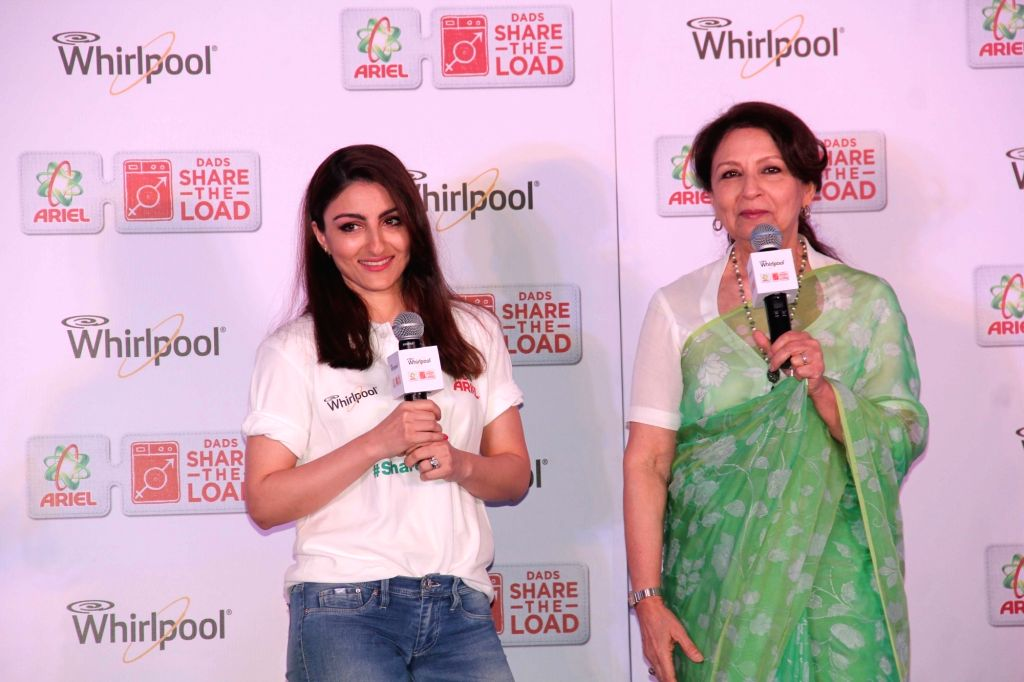 Actress Sharmila Tagore with her daughter Soha Ali Khan during a programme in Hyderabad on May 12, 2016. - Sharmila Tagore and Soha Ali Khan