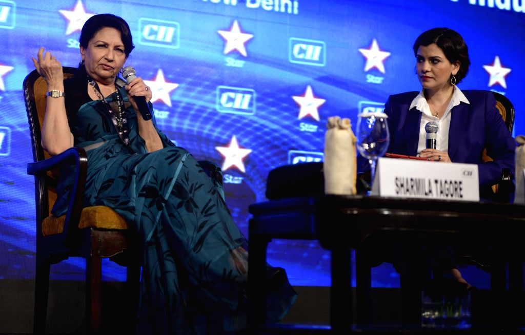 Actress Sharmila Tagore with journalist  Nidhi Razdan during the 4th Edition of CII Big Picture Summit 2015, in New Delhi on Oct 20, 2015. - Sharmila Tagore