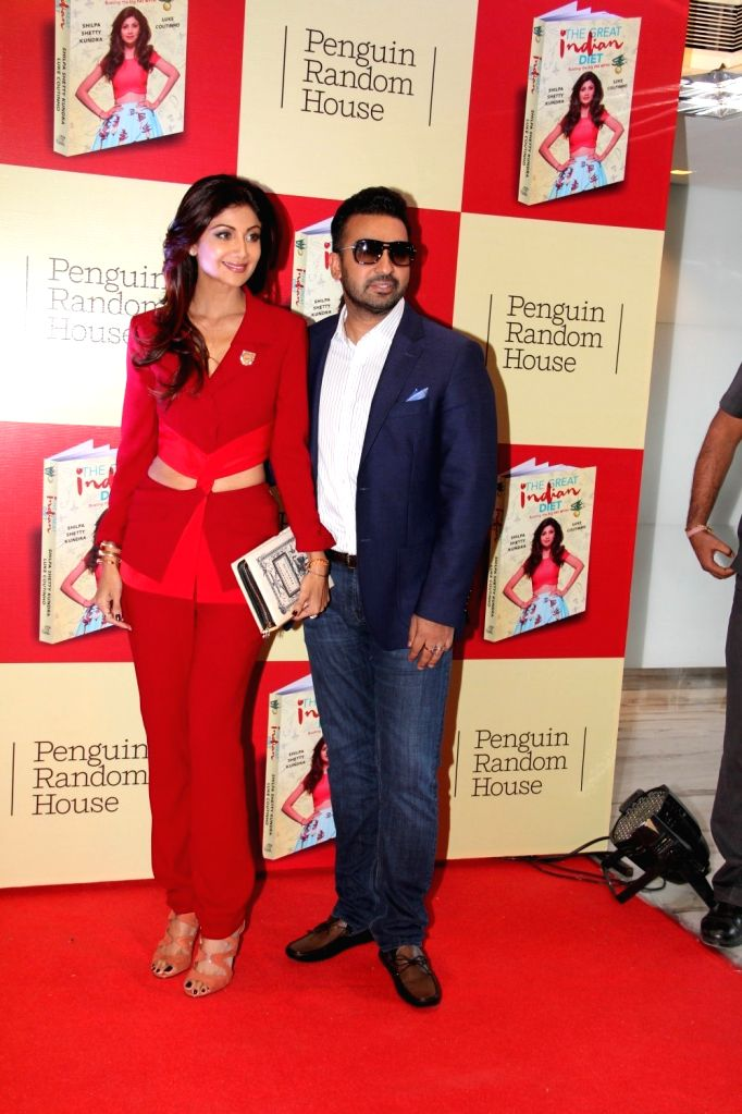 Actress Shilpa Shetty along with her husband Raj Kundra during the launch of her book The Great Indian Diet in Mumbai, on Nov 19, 2015. - Raj Kundra