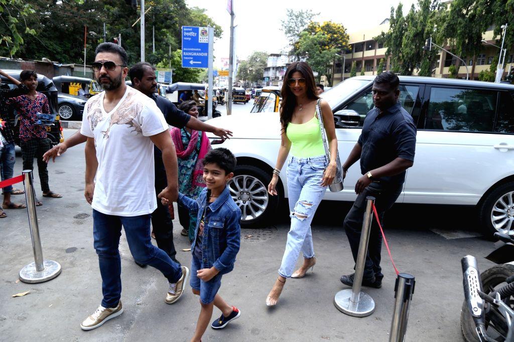 Actress Shilpa Shetty and her family seen at Bandra, in Mumbai, on June 2, 2019. - Shilpa Shetty