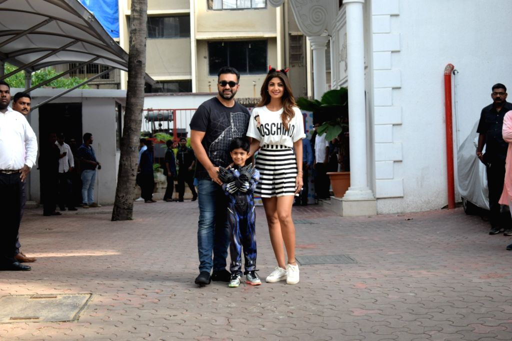 Actress Shilpa Shetty and her husband Raj Kundra at the birthday celebrations of their son Viaan in Mumbai, on May 25, 2018. - Shilpa Shetty and Raj Kundra
