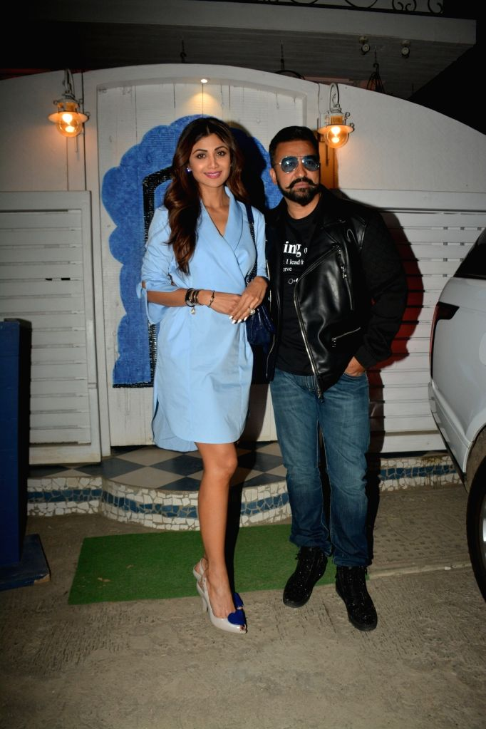 Actress Shilpa Shetty and her husband Raj Kundra during a programme in Mumbai on Feb 8, 2019. - Shilpa Shetty and Raj Kundra