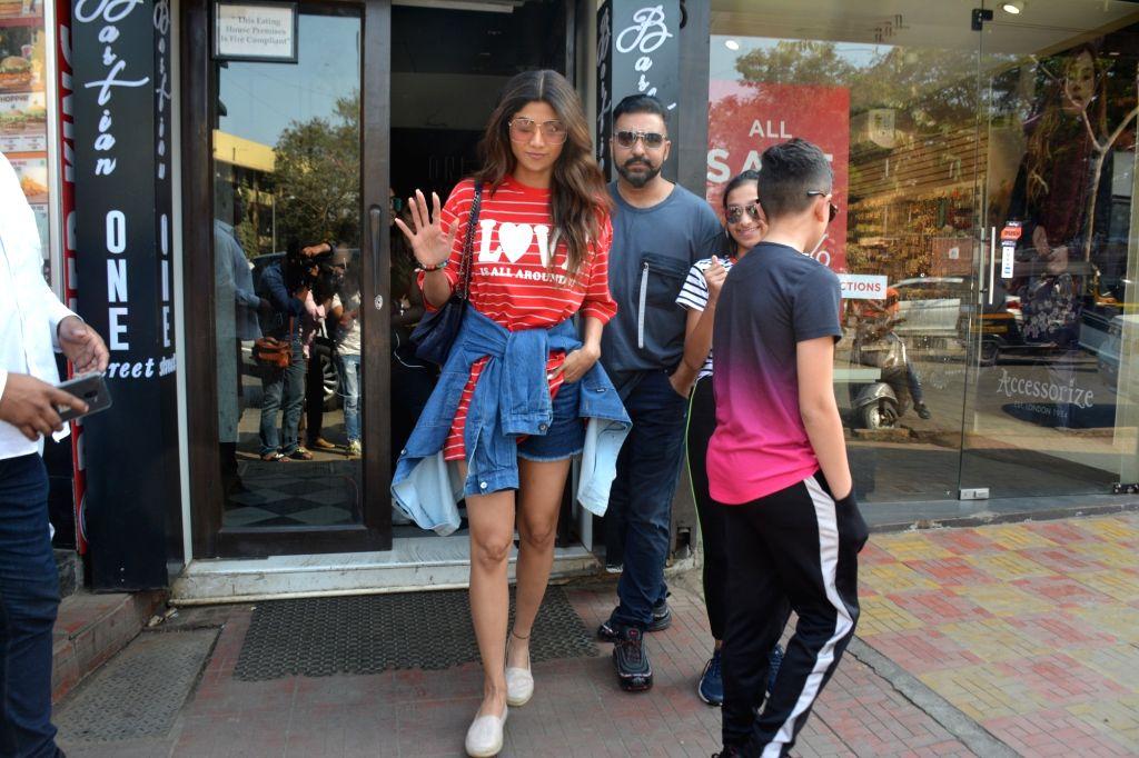 Actress Shilpa Shetty and her husband Raj Kundra seen at a Mumbai restaurant on Feb 21, 2019. - Shilpa Shetty and Raj Kundra