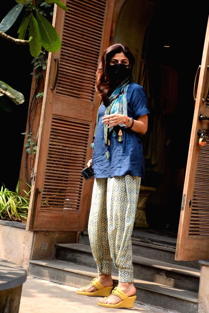 Actress Shilpa Shetty at Bandra in Mumbai on Oct 21, 2020. - Shilpa Shetty