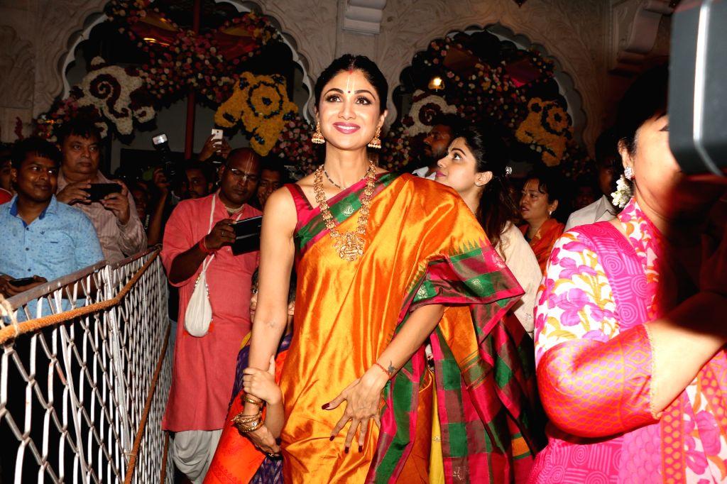 Actress Shilpa Shetty at ISKCON temple, on the occasion of Ram Navami festival, in Mumbai, on April 14, 2019. - Shilpa Shetty