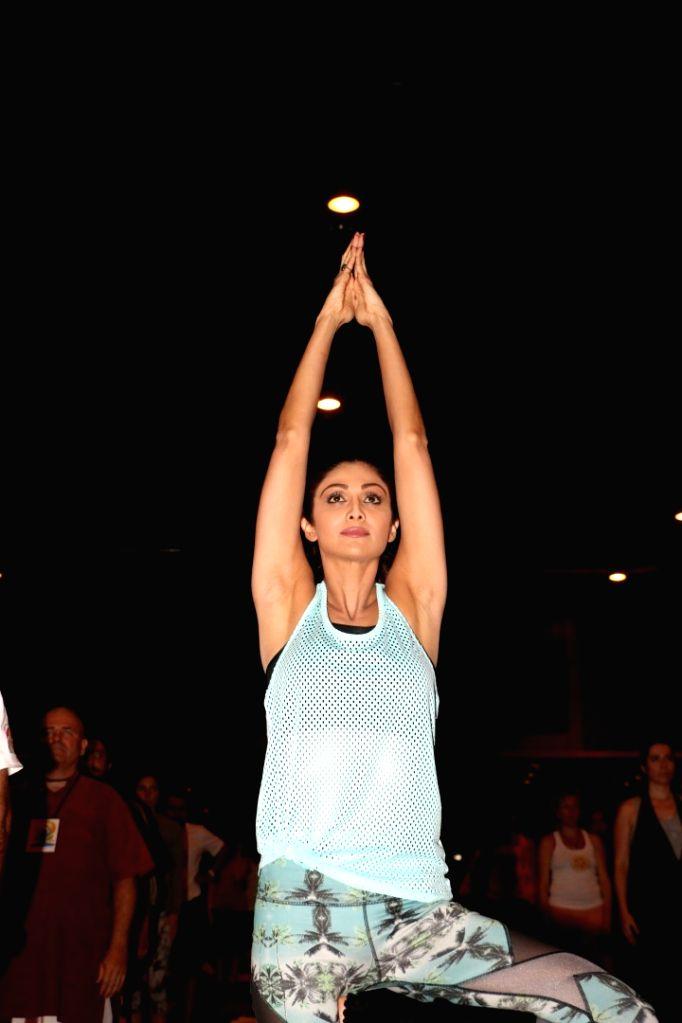 Actress Shilpa Shetty at the IIFA Stomp Yoga Masterclass 2016, in Madrid. - Shilpa Shetty