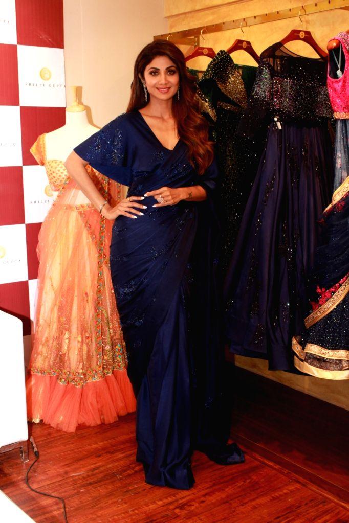 Actress Shilpa Shetty at the preview launch of designer Shilpi Gupta's creations in New Delhi on Aug 10, 2019. - Shilpa Shetty and Shilpi Gupta