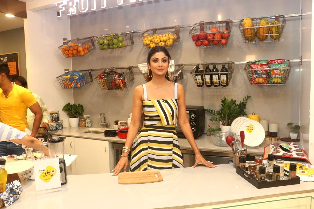 "Actress Shilpa Shetty celebrates the 100th episode of ""Cook Along"" show, in Mumbai on June 6, 2019. - Shilpa Shetty"