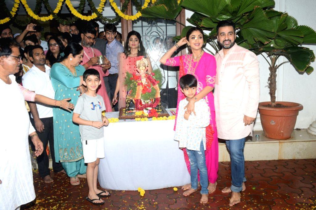Actress Shilpa Shetty during Ganesh idol immersions in Mumbai on Sep 3, 2019. - Shilpa Shetty